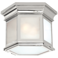 Club Small Hexagonal Flush Mount in Polished Nickel with Frosted Glass