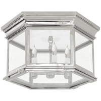 Club Large Hexagonal Flush Mount in Polished Nickel with Clear Glass