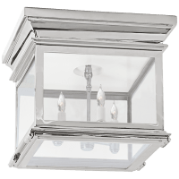 Club Small Square Flush Mount in Polished Nickel with Clear Glass