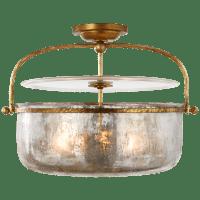 Lorford Medium Semi-Flush Lantern in Gilded Iron with Mercury Glass