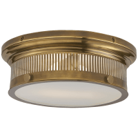 Alderly Small Flush Mount in Antique Brass with White Glass