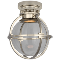 """Gracie 7"""" Captured Globe Flush Mount in Polished Nickel with Clear Glass"""