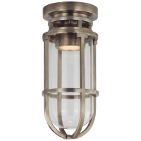Gracie Tall Flush Mount in Antique Nickel with Clear Glass