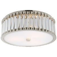 "Kean 14"" Flush Mount in Polished Nickel with Clear Glass Rods and Frosted Glass Diffuser"