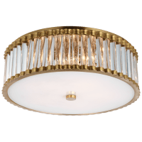 """Kean 18"""" Flush Mount in Hand-Rubbed Antique Brass with Clear Glass Rods and Frosted Glass Diffuser"""