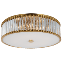 "Kean 24"" Flush Mount in Hand-Rubbed Antique Brass with Clear Glass Rods and Frosted Glass Diffuser"