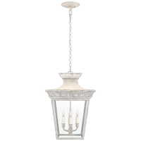 Elsinore Medium Hanging Lantern in Old White with Clear Glass