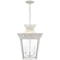 Elsinore Extra-Large Hanging Lantern in Old White with Clear Glass