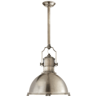 Country Industrial Large Pendant in Antique Nickel with Antique Nickel Shade