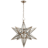 Moravian Large Star Lantern in Burnished Silver Leaf with Antique Mirror