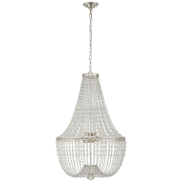 Linfort Basket Form Chandelier in Polished Nickel with Clear Glass Trim