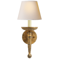 Iron Torch Sconce in Gilded Iron with Natural Paper Shade