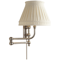Pimlico Swing Arm in Polished Nickel with Linen Collar Shade