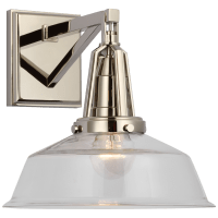 "Layton 10"" Sconce in Polished Nickel with Clear Glass"