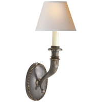 Fluted Horn Single Sconce in Bronze with Natural Paper Shade