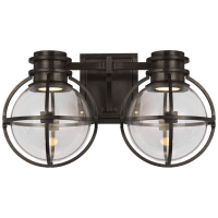 Gracie Double Sconce in Bronze with Clear Glass