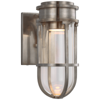 Gracie Tall Bracketed Sconce in Antique Nickel with Clear Glass
