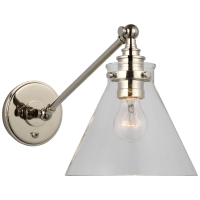Parkington Single Library Wall Light in Polished Nickel with Clear Glass