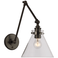 Parkington Double Library Wall Light in Bronze with Clear Glass