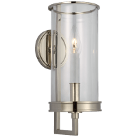 Glendon Small Hurricane Sconce in Polished Nickel with Clear Glass