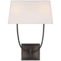 Venini Double Sconce in Bronze with Linen Shade