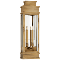 Linear Large Wall Lantern in Antique-Burnished Brass with Clear Glass