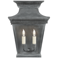Elsinore Medium 3/4 Wall Lantern in Weathered Zinc with Clear Glass