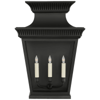 Elsinore Large 3/4 Wall Lantern in Black with Clear Glass