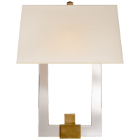 Edwin Double Arm Sconce in Crystal and Antique-Burnished Brass with Silk Shade