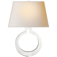 Ring Form Large Wall Sconce in Polished Nickel with Natural Paper Shade