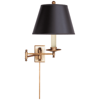 Dorchester Swing Arm in Antique-Burnished Brass with Black Shade