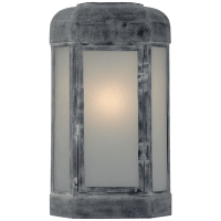 Dublin Small Faceted Sconce in Weathered Zinc with Frosted Glass