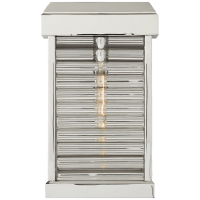 Dunmore Small Curved Glass Louver Sconce in Polished Nickel with Clear Glass