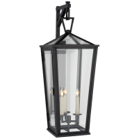 Darlana Large Tall Bracketed Wall Lantern in Bronze with Clear Glass