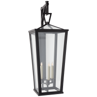 Darlana Grande Tall Bracketed Wall Lantern in Bronze with Clear Glass