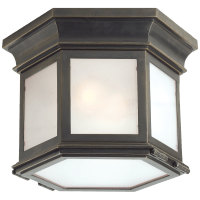 Club Small Hexagonal Flush Mount in Bronze with Frosted Glass
