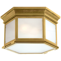 Club Large Hexagonal Flush Mount in Antique-Burnished Brass with Frosted Glass