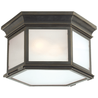 Club Large Hexagonal Flush Mount in Bronze with Frosted Glass