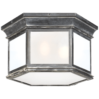 Club Large Hexagonal Flush Mount in Weathered Zinc with Frosted Glass