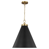 Wellfleet Large Cone Pendant Midnight Black Burnished Brass