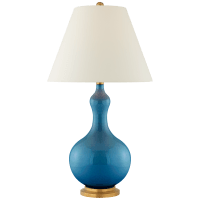 Addison Medium Table Lamp in Aqua Crackle with Natural Percale Shade