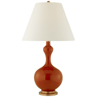 Addison Large Table Lamp in Cinnabar with Natural Percale Shade