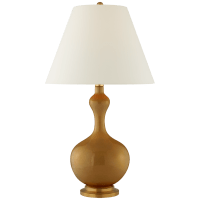 Addison Large Table Lamp in Dark Honey with Natural Percale Shade