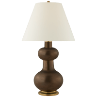 Chambers Large Table Lamp in Matte Bronze with Natural Percale Shade