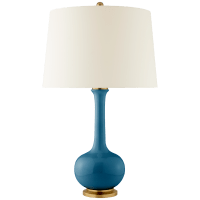 Coy Medium Table Lamp in Aqua Crackle with Natural Percale Shade