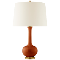 Coy Medium Table Lamp in Cinnabar with Natural Percale Shade