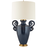Ralphaeli Large Handled Table Lamp in Mixed Blue Brown with Linen Shade