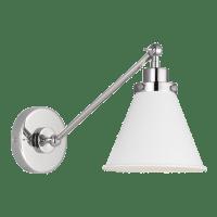 Wellfleet Single Arm Cone Task Sconce Matte White Polished Nickel