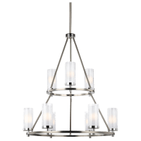 Jonah Two-Tier Chandelier Satin Nickel / Chrome Bulbs Inc