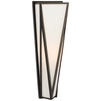 Lorino Medium Sconce in Bronze with White Glass